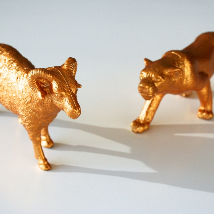 diy gold painted animals by {OH} Victoria